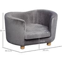 PawHut Luxury High Back Pet Sofa Seat w/ Cushion Dog Cat Furniture Comfortable