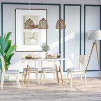 HOMCOM Scandinavian Style Dining Table Wood Legs Adjustable Feet Elegant White