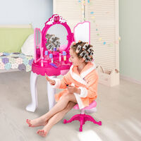 HOMCOM Kids Deluxe Dressing Table Play Set w/ 3 Mirror Accessories Music Lights