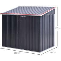 Outsunny 158x100cm Outdoor Steel 2-Bin Storage Shed w/ Lid Double Door Garden