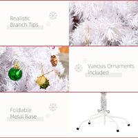 HOMCOM 5ft Snow Artificial Christmas Tree w/ Metal Stand Decorations Home White