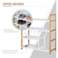 HOMCOM 4-Tier Shoe Wood Frame w/ Slatted Shelves Boot Compartment Storage