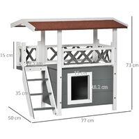 PawHut Luxury Deluxe Wooden Cat Kitten House w/ Room Balcony Ladder Roof White
