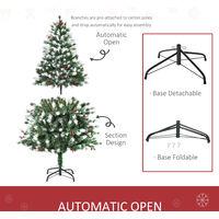 HOMCOM 5ft Artificial Snow-Flocked & Berry Christmas Tree w/ Base Seasonal