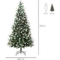 HOMCOM 6ft Artificial Snow-Flocked & Berry Christmas Tree w/ Base Seasonal