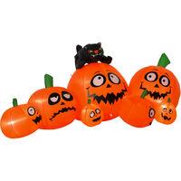 HOMCOM Inflatable Halloween Pumpkins & Cat Outdoor Decoration w/ LED Light