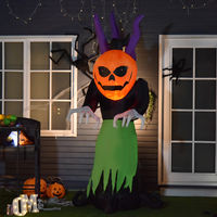 HOMCOM 2.4m Inflatable Halloween Pumpkin Witch Ghost Decoration w/ Lights