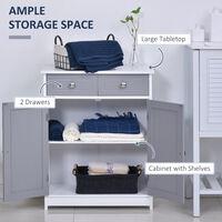 kleankin Bathroom Cabinet Storage Cupboard w/ 2 Drawers Double Door Shelf