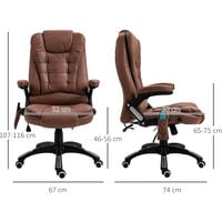 Vinsetto 135° Office Chair w/ Heating Massage Points Relaxing Reclining Brown