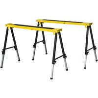 DURHAND Set of 2 Folding Saw Horses Steel Frame w/ Anti-Slip Platform Handle DIY
