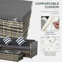 Outsunny 5 Pcs Rattan Outdoor Sofa Seat Set Wicker w/ Cushions Patio Garden