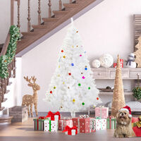 HOMCOM 6ft Snow Artificial Christmas Tree w/ Metal Stand Decorations Home White