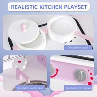 HOMCOM Kids Kitchen Play Set Sounds Utensils Pans Storage Child Role Play 3 Yrs+
