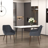HOMCOM Set Of 2 Linen-Look Dining Chair w/ Padding Metal Leg Home Office Style