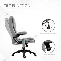 Vinsetto Linen-Look Office Chair w/ Heating Massage Points Reclining Grey