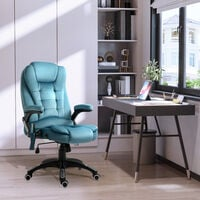 Vinsetto Velvet-Feel Office Chair w/ Heating Massage Points Reclining Blue
