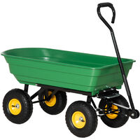 HOMCOM 75L Cart Heavy Duty 4 Wheels Trolley Dump Wheelbarrow Tipper Trailer Tipping Truck