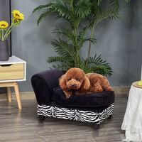 PawHut Luxury Pet Sofa Storage Dog Bed Chaise Lounge Puppy Cat Kitten Lounger Soft Mat Indoor Couch House Zebra-stripe w/ Cushion