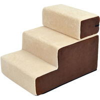 PawHut Deluxe Pet Stairs 3 Steps Dog Cat Soft Padded Covered Staircase Non Slip