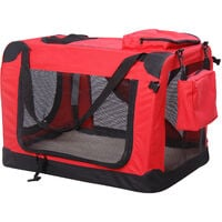 """PawHut Folding Fabric Soft Portable Pet Dog Cat Crate Puppy Kennel Cage Carrier House Medium 23"""" Red New"""