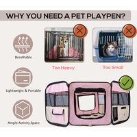 PawHut Fabric Pet Puppy Dog Cat Rabbit Pig Guinea Playpen Play Pen Run L37 x H37cm x D95cm Pink and Cream