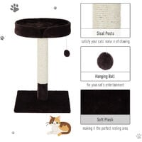 PawHut 70cm Height Cat Tree Scratching Post Furniture Pet Play Area Activity Center Kitten Climbers Climbing Exercise w/ Hanging Toy & Cushion