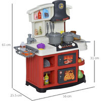 HOMCOM Kids Kitchen Playset w/ Lights Sounds Spray Sink Running Water