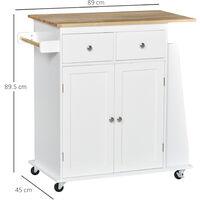 HOMCOM Kitchen Island Storage Cabinet Rolling Trolley Wood Top w/ Spice Rack