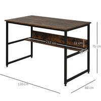 HOMCOM 2-Tier Writing Desk Metal Frame Smooth Shelves Storage Shelf Rustic Brown