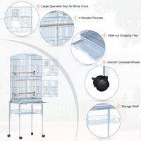PawHut Large Metal Bird Cage w/ Breeding Stand Feeding Tray w/ Wheels 47.5L x 37W x 160H (cm) Light Blue