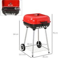 Outsunny Charcoal Trolley BBQ Garden Grill