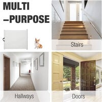 PawHut Retractable Safety Gate Dog Kids Barrier Folding Protector Home Doorway Room Divider Stair Guard White 115Lx82.5Hcm