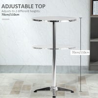 HOMCOM Aluminum Bistro Bar Table Round Adjustable Height 70-110cm
