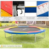 Outsunny 10ft Trampoline Pads Safety Enclosure Pad Pading Pads - Mutli Coloured