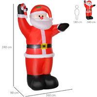 HOMCOM Inflatable Air Blown Christmas Santa Claus 240cm LED Lighted Decoration