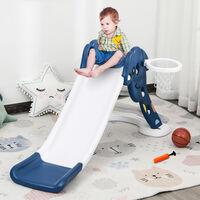 HOMCOM Kids Basketball Hoop Slide Outdoor Fun w/ Ball Toddler Climber