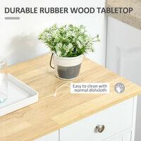 HOMCOM Mobile Kitchen Island Storage w/ Wood Top Adjustable Shelf Drawer