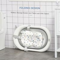 HOMCOM Temperature Plug Baby Bath Tub Foldable Home Cleaning Portable 0-3 Years