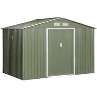 Outsunny 9X6FT Outdoor Garden Roofed Metal Storage Shed w/ Foundation Vents