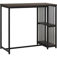 HOMCOM Industrial-Style Steel Dining Bar Table w/ 2 Shelves Adjustable Feet