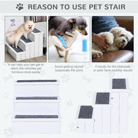 PawHut 3 Step Wooden Pet Stairs w/ Carpet Ramp Cats Dogs Non-Slip Assistance