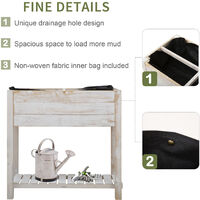 Outsunny 4 Compartment Wooden Planter Garden Grow Box w/ Shelf 2 Tiers