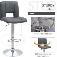 HOMCOM Set Of 2 Modern Linen Fabric Bar stool Armless Adjustable Swivel Seat