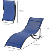 Outsunny Set of 2 S-Shaped Foldable Garden Lounge Chairs w/ Fabric Seat Blue