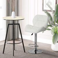 HOMCOM Diamond Design Swivel Bar Stool Kitchen / Pub Metal Chrome Base - White
