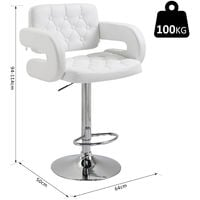 HOMCOM Swivel Barstool with Arm Rest with Gas Lift Height Adjustable Kitchen - White