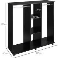 HOMCOM Mobile Open Wardrobe Storage Shelves w/6 Wheels Clothes Hanging Rail - Black