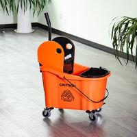 HOMCOM 36L Mop Bucket Cart w/ Wringer Wheels Home Cleaning Hygiene Orange