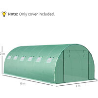 Outsunny Tunnel Greenhouse Replacement Covew/ Roll-up Windows Outdoors 20X10FT