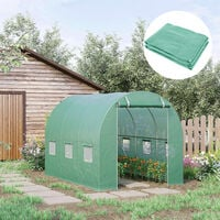 Outsunny Tunnel Greenhouse Replacement Covew/ Roll-up Windows Outdoors 10X7FT
